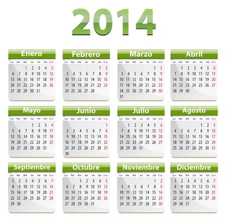 Green calendar for 2014 year in Spanish. Vector illustration
