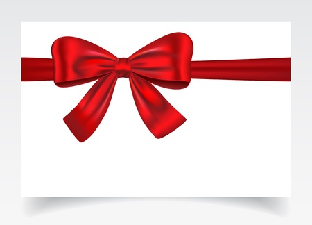 Nice gift card with red ribbon and bow. Vector illustration