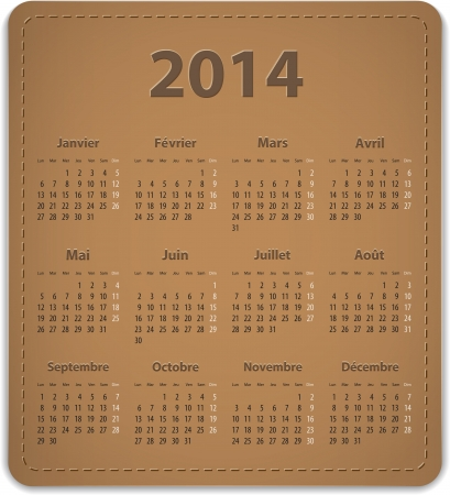 Calendar for 2014 year in French on leather background  Vector illustration Vector