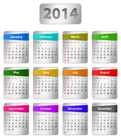 Calendar for 2014 year in English with colorful stickers. Vector illustration