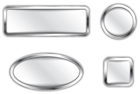 金属の銀のボタンのアイコンのベクトル イラスト バナーします。  イラスト・ベクター素材