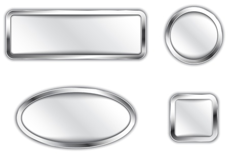 rounded rectangle: Metallic banners  Silver buttons  Icons  Vector illustration