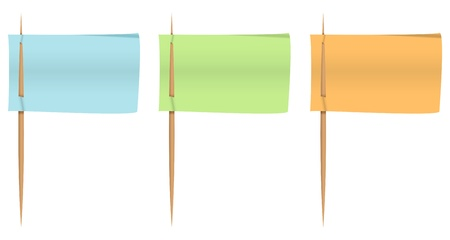 paper board: Colorful notepapers on toothpicks like flags  Vector illustration Illustration