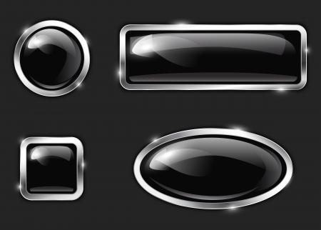 Black glossy metallic buttons.  Vector illustration