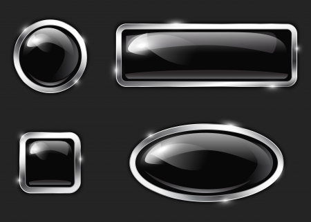 Black glossy metallic buttons.  Vector illustration