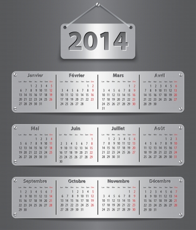 Calendar for 2014 year in French with attached metallic tablets. Vector illustration Çizim