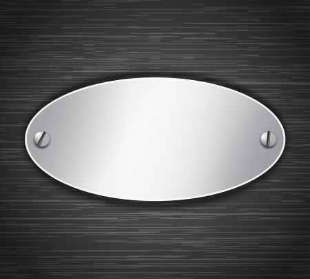 Metallic oval tablet attached with screws. Blank banner on dark brushed metallic background. Vector illustration