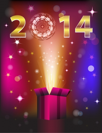 Magical colorful gift card for 2014 New Year. Vector illustration