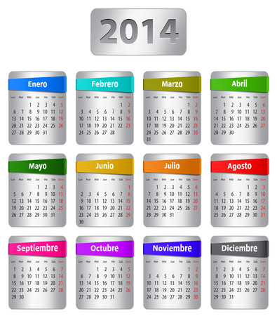 Calendar for 2014 year in Spanish with colorful stickers. Vector illustration Çizim