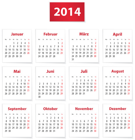 Calendar for 2014 year on white papers in German Vector illustration Vector