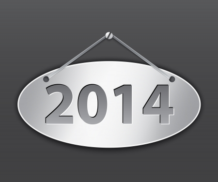 Metallic oval tablet for 2014 year. Vector illustration Vector
