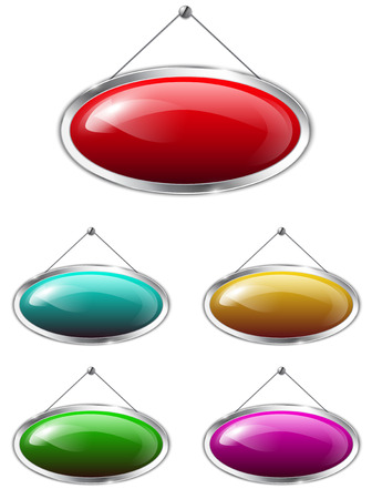 Blank metallic banners hanging on the wall. Colorful glossy oval tablets. Vector illustration Vectores
