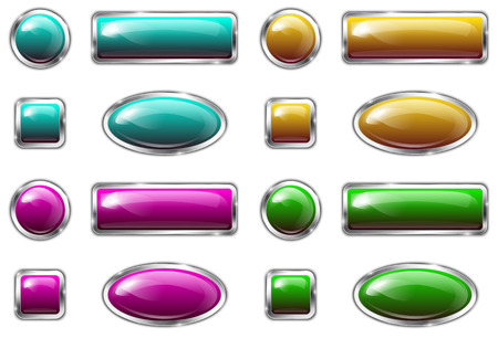 blue buttons: Colorful glossy metallic buttons. Vector illustration Illustration