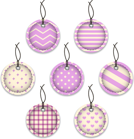 Violet textured labels for Christmas  Hanging baubles  Vector illustration Vector