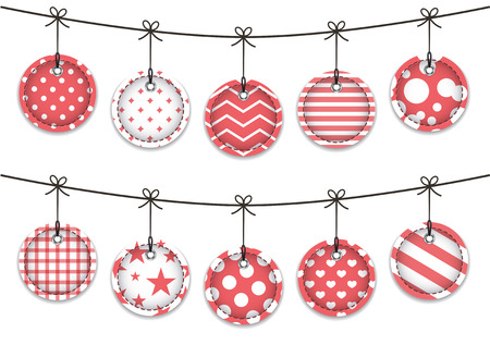 Red textured labels for Christmas  Hanging baubles  Vector illustration Vector
