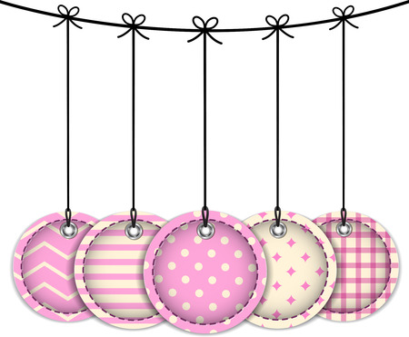 Pink Christmas labels tied with bows on white  Vector illustration  Vector