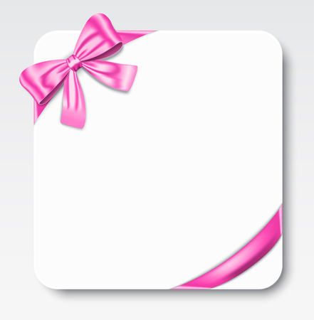 Nice gift card with pink ribbon and bow  Vector illustration Çizim