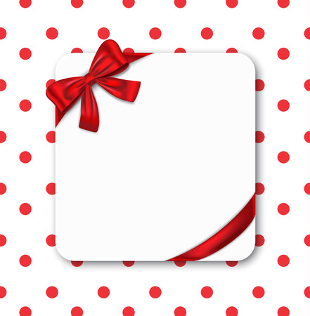 wedding wishes: Gift card with red ribbon and bow. Vector illustration