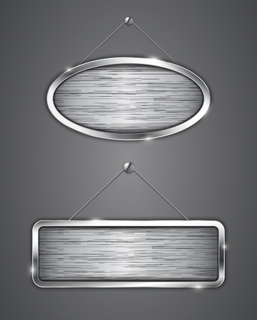 Brushed metallic banners hanging on the wall Vector