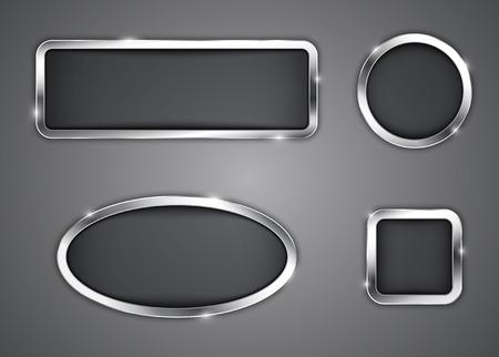 ovalo: Botones metálicos iconos ilustración
