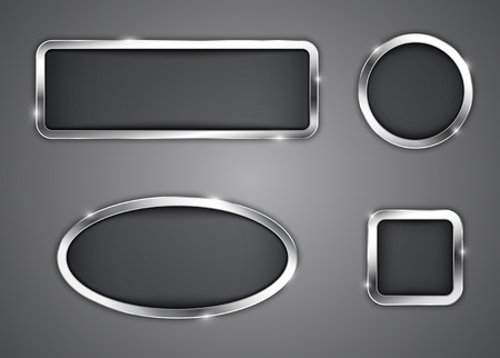 rounded squares: Metallic buttons Icons illustration