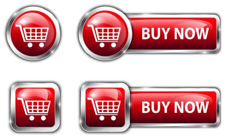 glossy buttons: Red tasti lucidi per internet lo shopping Vettoriali