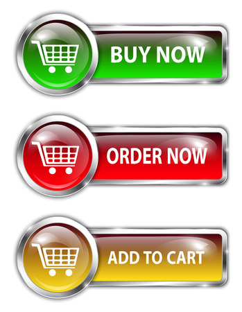 cart icon: Metallic glossy commercial buttons