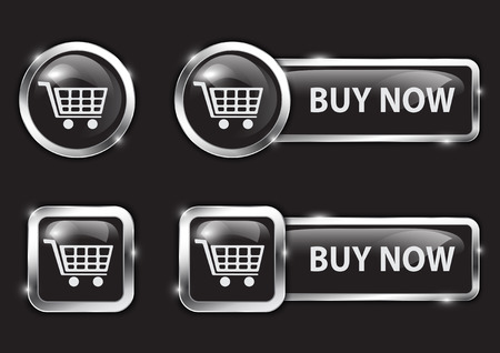 order now: Black glossy buttons for internet shopping
