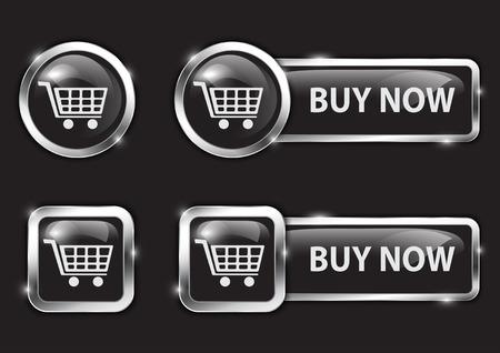 glossy buttons: Neri lucidi pulsanti per internet lo shopping