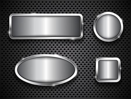 ellipses: Metallic buttons on textured background  Vector illustration