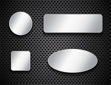 elipse: Banners y botones metálicos de plata sobre fondo de textura Vectores