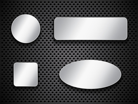 ellipses: Metallic banners and Silver buttons on textured background