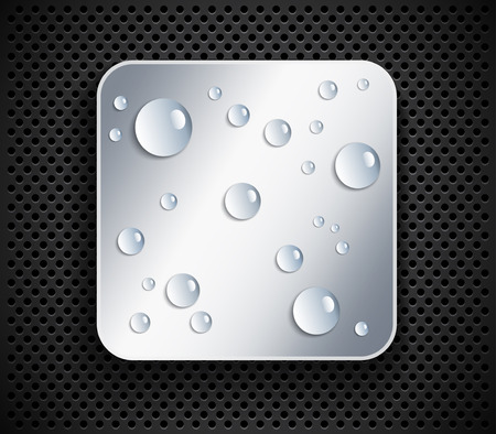 Water drops on metallic button Vector