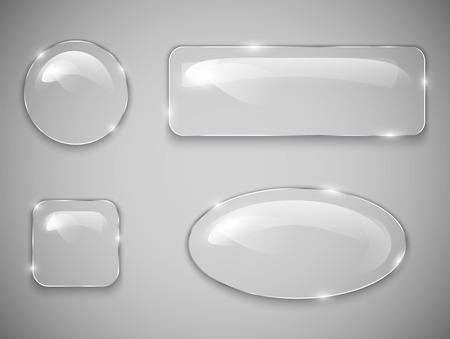 透明なガラスのボタンのベクトル図  イラスト・ベクター素材