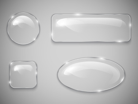 shiny buttons: Transparent glass buttons  Vector illustration