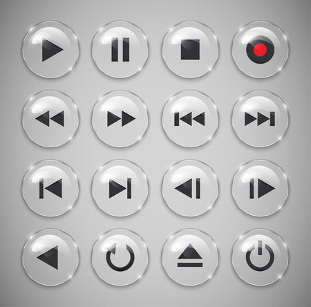 navigation icons: Metallic and glossy media player buttons  Vector illustration