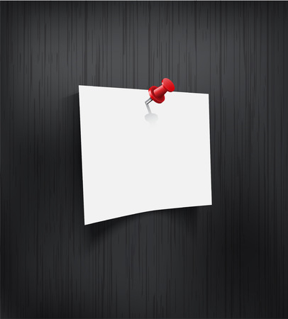pinned: White blank paper attached with red pin on black background  Vector illustration