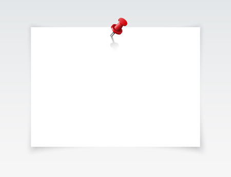 White blank paper attached with red pin. Vector illustration