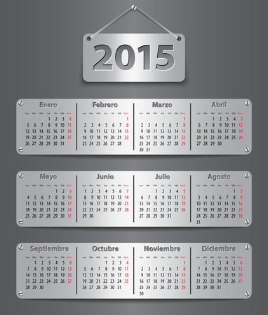 Calendar for 2015 in Spanish with attached metallic tablets. Vector illustration Vector