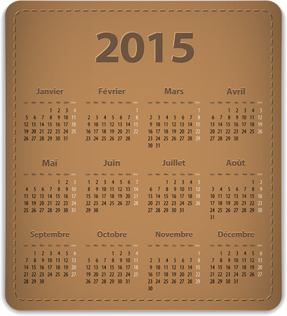 calendrier: Calendar for 2015 year in French on leather background. Vector illustration