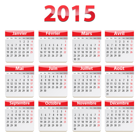 Calendar for 2015 year in French.