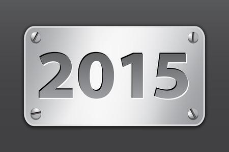 Metallic gray banner for 2015 year.  Vector
