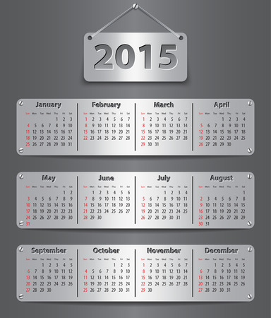 Calendar for 2015 year in English attached with metallic tablets. Vector