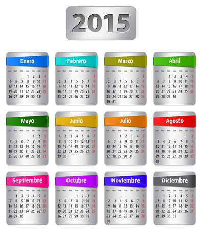 Calendar for 2015 year in Spanish with colorful stickers.