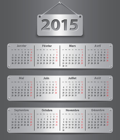 Calendar for 2015 year in French with attached metallic tablets. Vector illustration