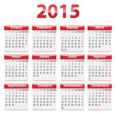 Red glossy calendar for 2015 year in Spanish language. Vector illustration Vector