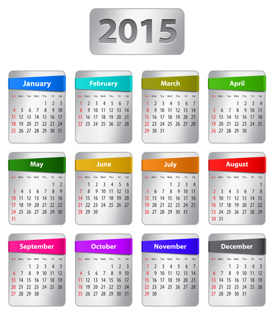 Calendar for 2015 year in English with colorful stickers. Vector illustration