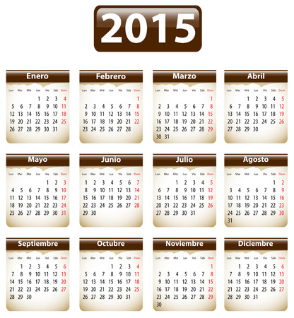 weekday: Brown calendar for 2015 year in Spanish with torn papers. Vector illustration