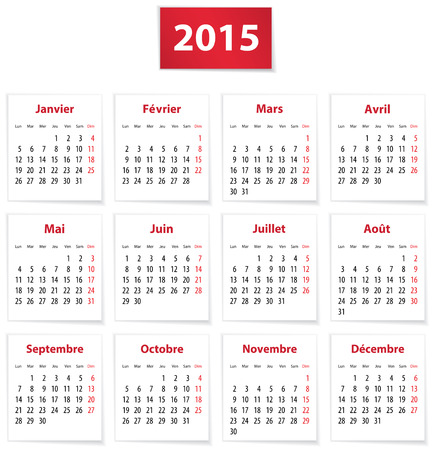 calendrier: Calendar for 2015 year in French on white paper. Vector illustration