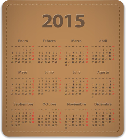 Calendar for 2015 year on brown leather background in Spanish. Vector illustration Vector